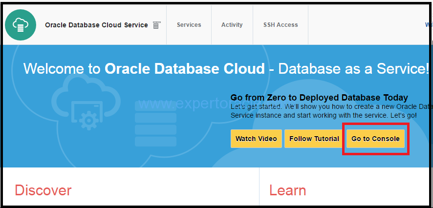 Create Database instance on Oracle Database Cloud – Expert